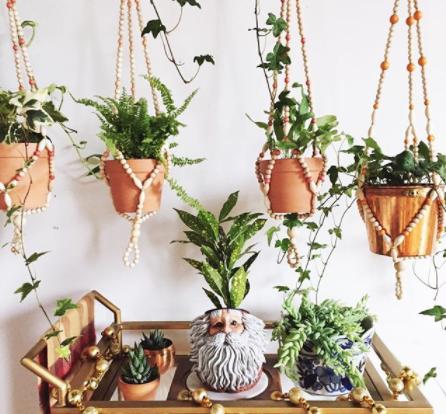beaded hanging planters